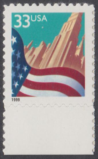 USA Michel 3091A / Scott 3278 postfrisch EINZELMARKE RAND unten - Flagge vor Stadtansicht 0