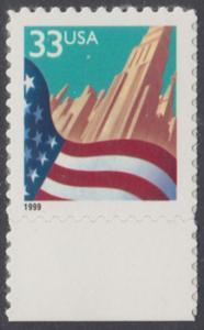 USA Michel 3091A / Scott 3278 postfrisch EINZELMARKE RAND unten - Flagge vor Stadtansicht