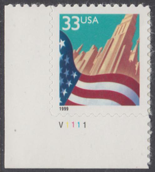 USA Michel 3091A / Scott 3278 postfrisch EINZELMARKE ECKRAND unten links m/ Platten-# V1111 - Flagge vor Stadtansicht 0