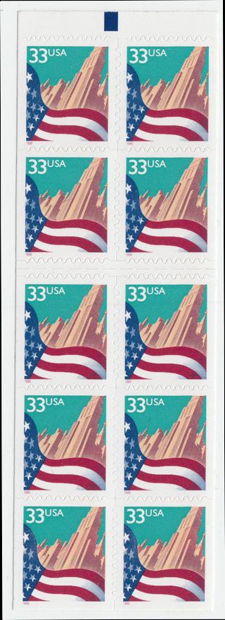 USA Michel 3091D / Scott 3279a postfrisch Markenheftchenblatt(10) - Flagge vor Stadtansicht 0