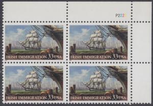 USA Michel 3092 / Scott 3286 postfrisch PLATEBLOCK ECKRAND oben rechts - Irische Einwanderung in die Vereinigten Staaten von Amerika; Auswandererschiff im 19. Jahrhundert