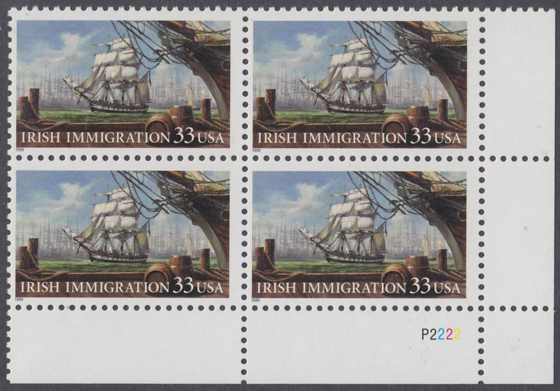 USA Michel 3092 / Scott 3286 postfrisch PLATEBLOCK ECKRAND unten rechts - Irische Einwanderung in die Vereinigten Staaten von Amerika; Auswandererschiff im 19. Jahrhundert 0