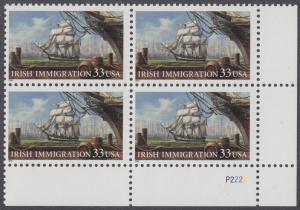 USA Michel 3092 / Scott 3286 postfrisch PLATEBLOCK ECKRAND unten rechts - Irische Einwanderung in die Vereinigten Staaten von Amerika; Auswandererschiff im 19. Jahrhundert