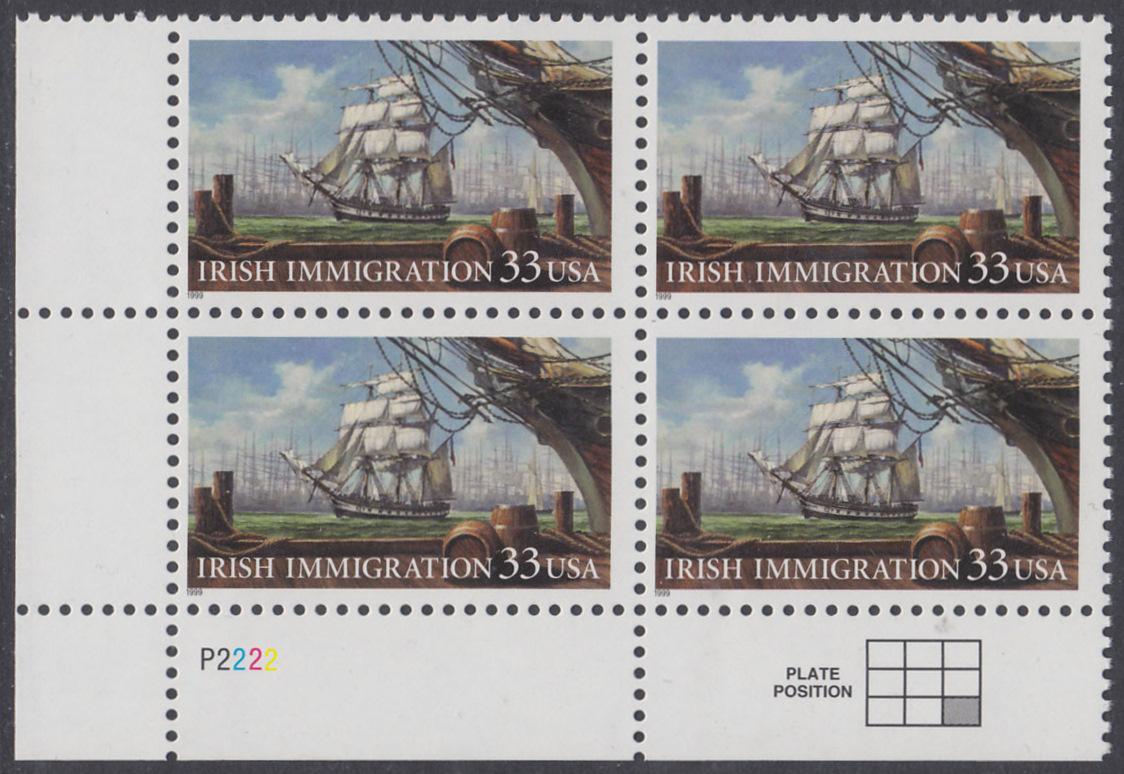 USA Michel 3092 / Scott 3286 postfrisch PLATEBLOCK ECKRAND unten links - Irische Einwanderung in die Vereinigten Staaten von Amerika; Auswandererschiff im 19. Jahrhundert 0