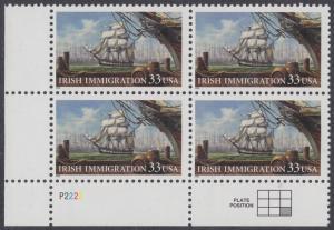 USA Michel 3092 / Scott 3286 postfrisch PLATEBLOCK ECKRAND unten links - Irische Einwanderung in die Vereinigten Staaten von Amerika; Auswandererschiff im 19. Jahrhundert