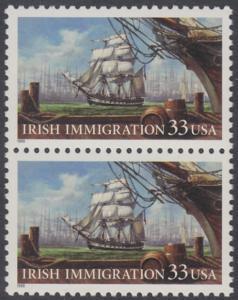 USA Michel 3092 / Scott 3286 postfrisch vert.PAAR - Irische Einwanderung in die Vereinigten Staaten von Amerika; Auswandererschiff im 19. Jahrhundert