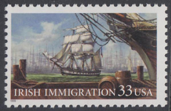 USA Michel 3092 / Scott 3286 postfrisch EINZELMARKE - Irische Einwanderung in die Vereinigten Staaten von Amerika; Auswandererschiff im 19. Jahrhundert 0