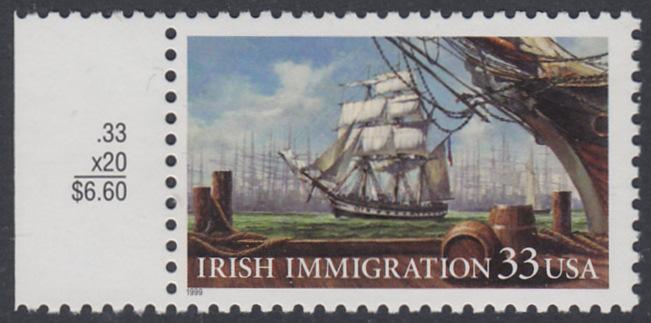 USA Michel 3092 / Scott 3286 postfrisch EINZELMARKE RAND links - Irische Einwanderung in die Vereinigten Staaten von Amerika; Auswandererschiff im 19. Jahrhundert 0