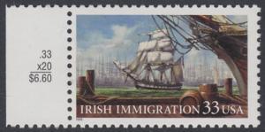 USA Michel 3092 / Scott 3286 postfrisch EINZELMARKE RAND links - Irische Einwanderung in die Vereinigten Staaten von Amerika; Auswandererschiff im 19. Jahrhundert