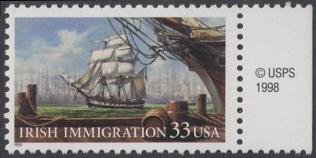 USA Michel 3092 / Scott 3286 postfrisch EINZELMARKE RAND rechts m/ copyright symbol - Irische Einwanderung in die Vereinigten Staaten von Amerika; Auswandererschiff im 19. Jahrhundert 0