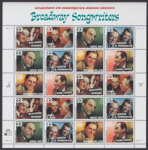 USA Michel 3186-3191 / Scott 3345-3350 postfrisch BOGEN(20) - Amerikanische Musikgeschichte: Musical-Komponisten