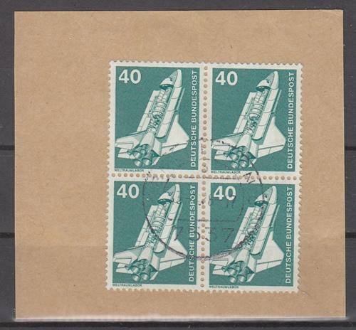 hc000.122 - Bund Mi.Nr 850 Viererblock mit zentr. Stempel auf Briefstück