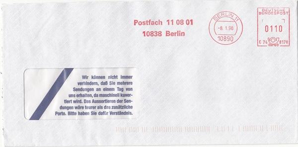 br000.040 - Deutschland AFS C74817H, Berlin 1998, Postfach 110801 Berlin