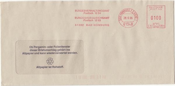 br000.041 - Deutschland AFS C92506A, Bad Homburg v.d. Höhe 1996, Bundesverwaltungsamt - Bundesausgleichsamt