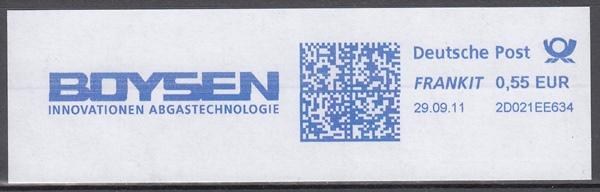 af020 - Deutschland FRANKIT 2D021EE634, 2011, BOYSEN Innovationen Abgastechnologie