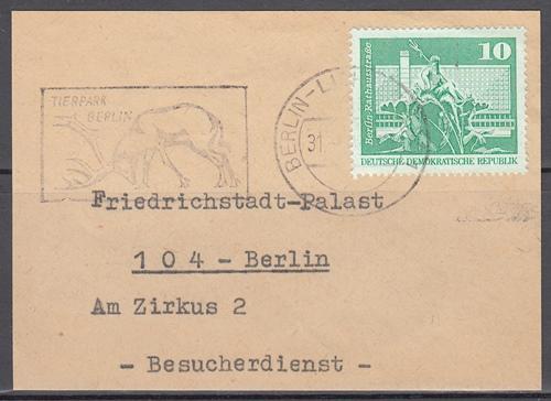 s1 - DDR MWSt Tierpark Berlin auf Briefausschnitt