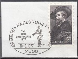s3 - SST Karlsruhe 30.10.1977 Tag der Briefmarke 1977 auf Briefstück