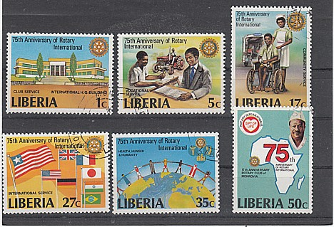 (29) 75 Jhr.Internationaler Rotarry-Club, MiNr.1161-1166