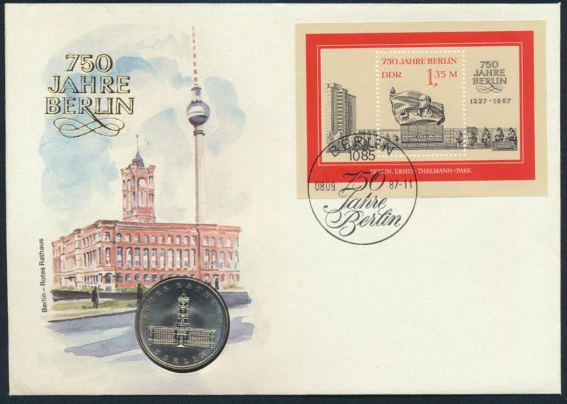 DDR Numisbrief 750 Jahre Berlin Rotes Rathaus 1987 mit 5M-Münze