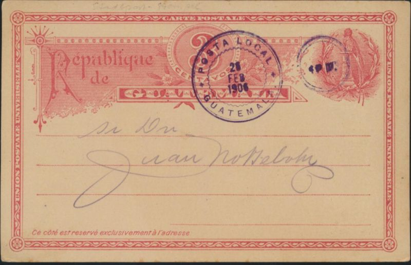 Guatemala Ganzsache 3cred Stadtpost Stempel private postal stationary local mail