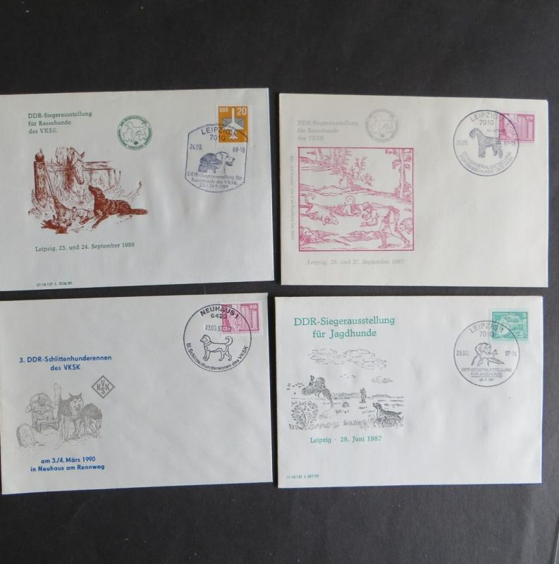 Briefe und Karten Sammlung Motiv Hunde DDR mit inter. Vielfalt 8 Stück dabei