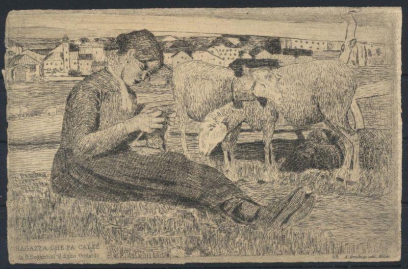 Ansichtskarte Künstlerkarte Segantini Jugendstil Art Nouveau Schafe Mädchen mach