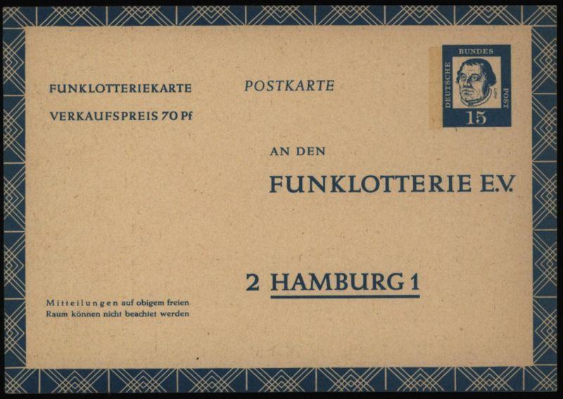 Bund Ganzsache FP 10 Funklotterie 15 - 70 Pfg. Bedeutende Deutsche ungebraucht