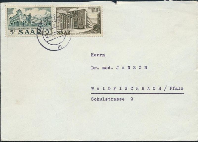 Saar Brief MIF 323 + 325 Ansichten Saarland Saarbrücken nach Waldfischbach