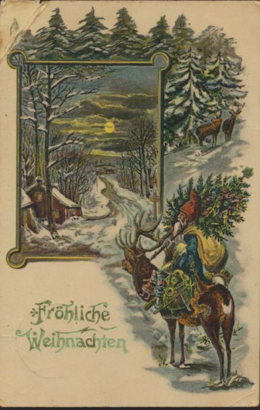 Ansichtskarte Weihnachten Weihnachtsmann Nikolaus blauer Mantel Spielzeug