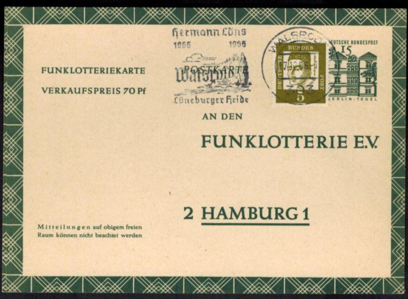 Bund Ganzsache FP 11 mit ZUF Werbestempel Walsrode nach Hamburg 17.12.1966
