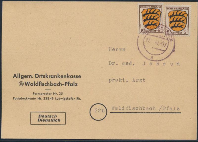 Franz. Zone Allg. Ausgabe Brief Ortskarte MEF 3 5 Pfg.Wappen Waldfischbach 1947