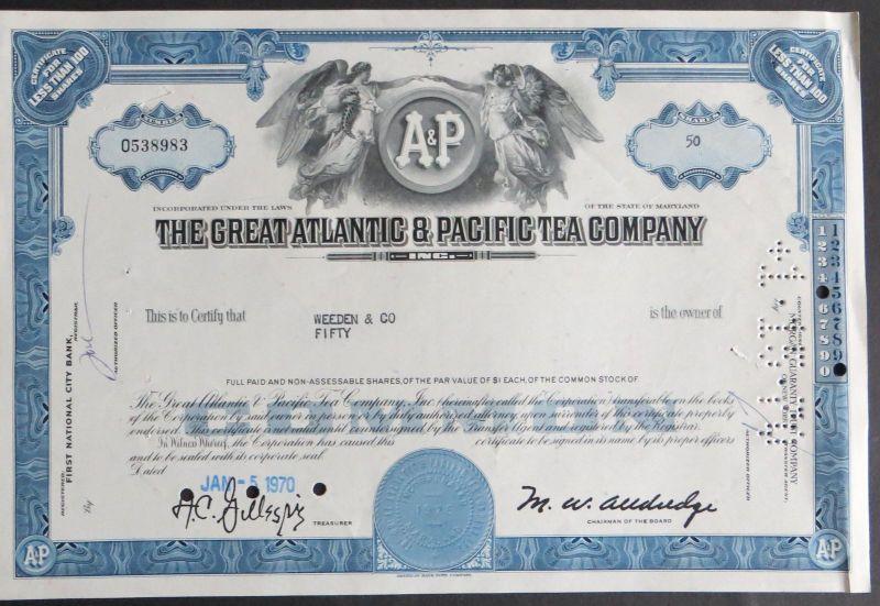 Historische Aktie USA 1970 The Great Atlantic & Pacific Tea Company 50 Shares