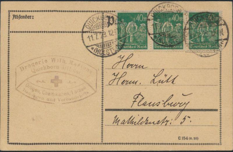 Deutsches Reich Brief Postkarte Infla MEF 244 3er Streifen Quickborn Flensburg