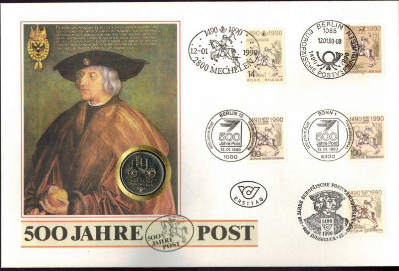 DDR Numisbrief 500 Jahre Post 1990 Großformat 5 Länder mit 5M-Münze