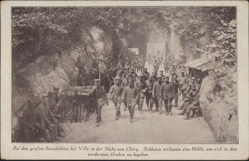 Militaria Ansichtskarte I. WK Ville Chiry Soldaten Front Schützengraben Militär