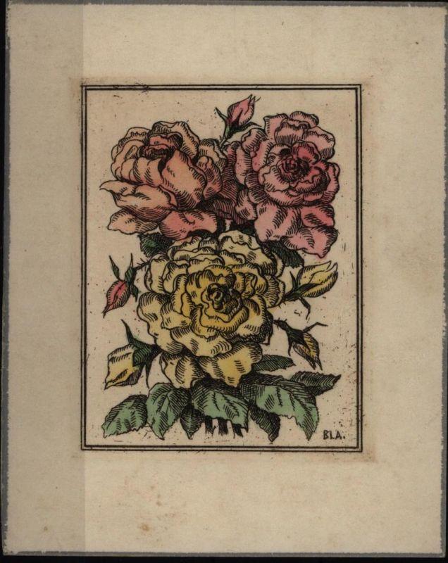 Pfingsten Künstler-Kärtchen sign. BLA. handcoloriert auf Stoff v. 1.6.1949