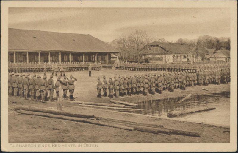 Militaria Ansichtskarte I. WK Ausmarsch Regiment in Osten Feldpost n. Nürnberg