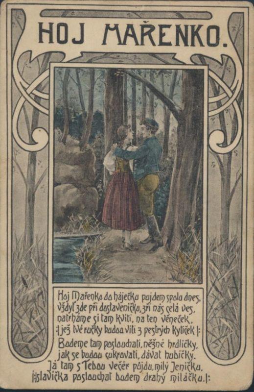 Ansichtskarte Künstler Jugendstil Hoj Marenko Paar im Wald Bach 0