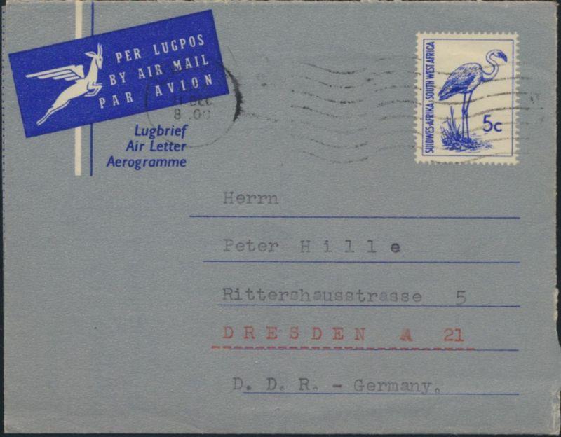 Südwestafrika Namibia Ganzsache Vögel Luftbrief Aerogramme Luderitz Dresden 0