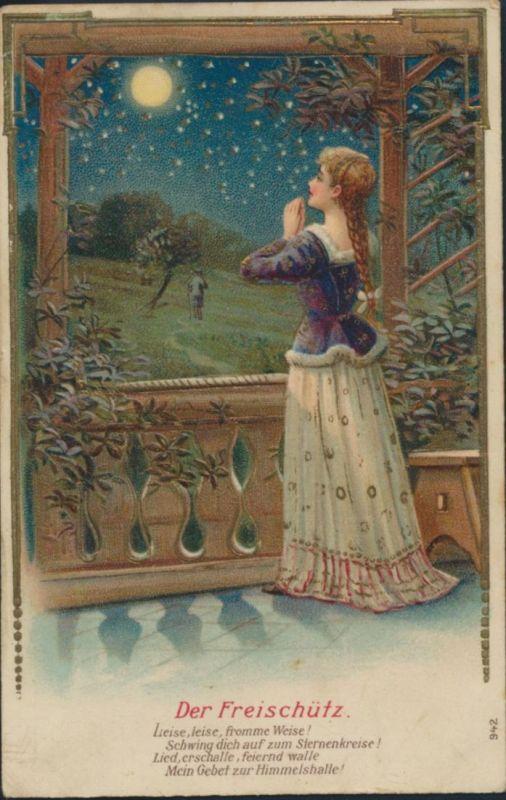 Ansichtskarte Prägekarte Künstler Der Freischütz Mondnacht Junge Frau Sterne 0