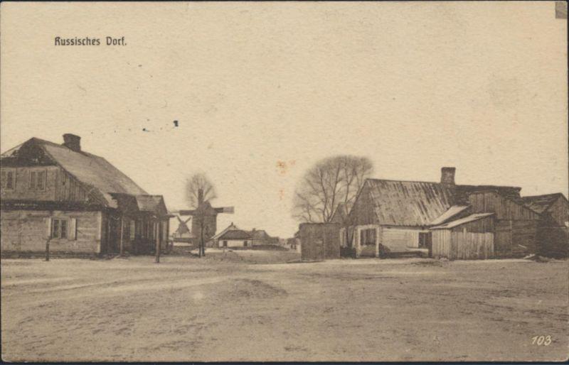 Ansichtskarte Rußland Russisches Dorf per Feldpost 25.3.1916 nach Nürnberg 0