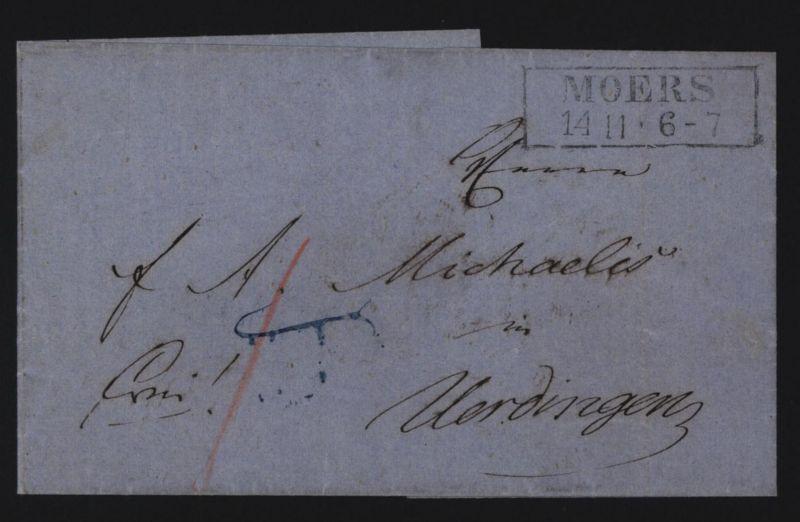 Moers mit Stempel  K2 auf markenlosem Brief nach Uerdingen ca. 1854 0