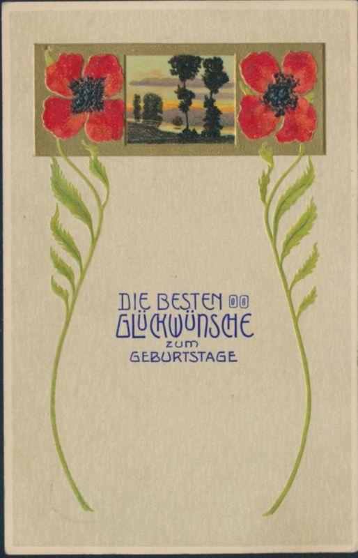 Ansichtskarte Prägekarte Bahnpost Mohnblume Geburtstag nach Hoya-Syke 30.1.1911 0