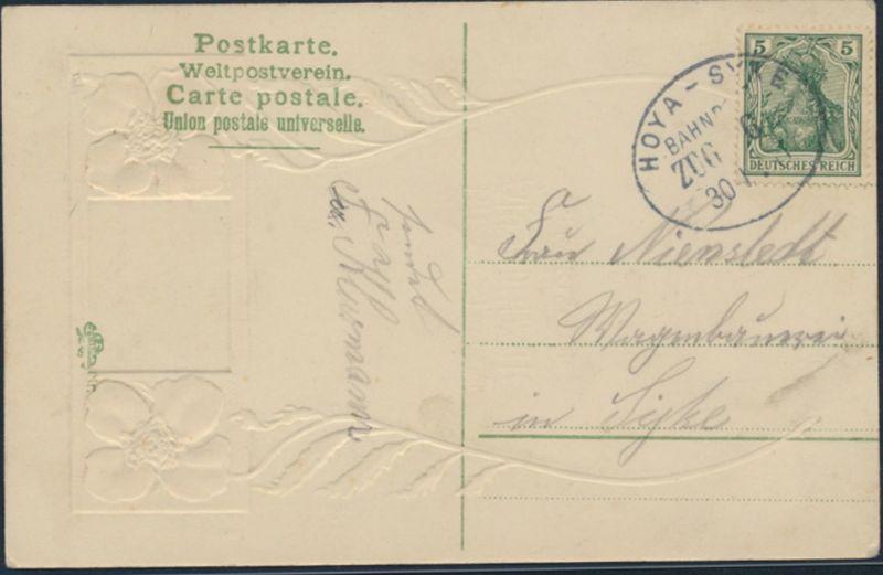 Ansichtskarte Prägekarte Bahnpost Mohnblume Geburtstag nach Hoya-Syke 30.1.1911 1