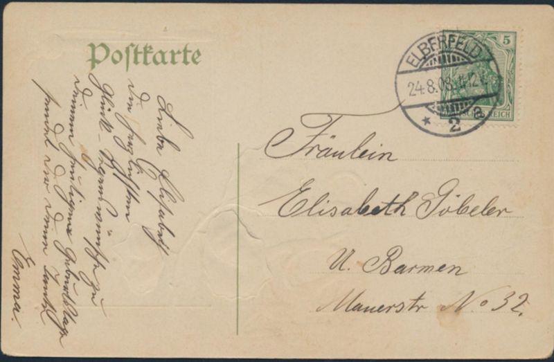 Ansichtskarte Prägekarte Elberfeld nach Barmen 1908 Schlittschuhlaufen See 1