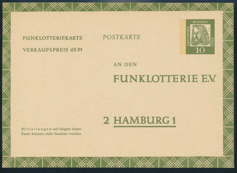 Bund Ganzsache FP 9 Funklotterie 10 - 65 Pfg. Bedeutende Deutsche ungebraucht