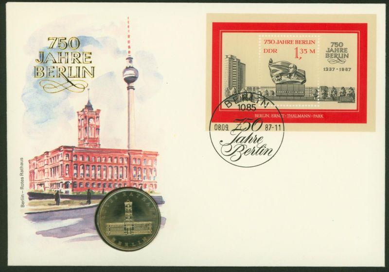 DDR Numisbrief 750 Jahre Berlin - Rotes Rathaus 1987 5M-Sondermünze