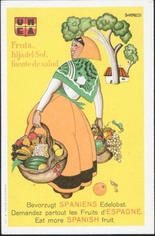 Ansichtskarte Spanien Reklame Werbung Bevorzugt Spaniens Edelobst Landwirtschaft
