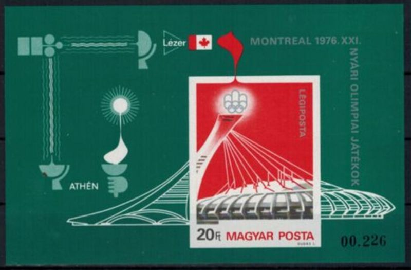 Ungarn Olympia Sport Blockausgabe Olympische Sommerspiele Montreal postfrisch