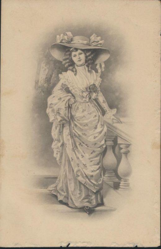 Ansichtskarte Kunst Frau an Brüstung Schönes Kleid M. Munk Vienne